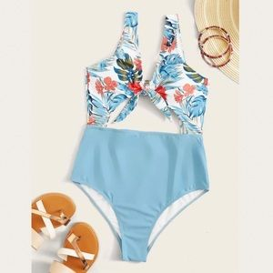 Other - Tropical Front Knot One Piece Swimsuit